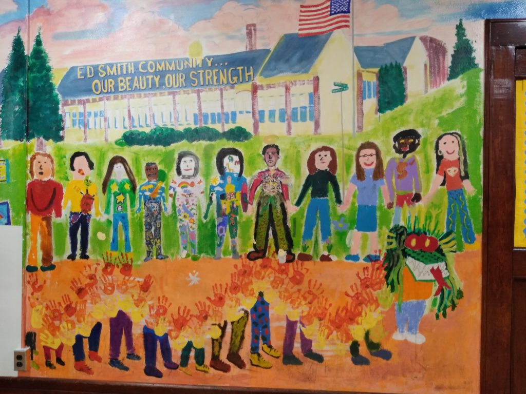 Mural of Ed Smith School along the cafeteria wall