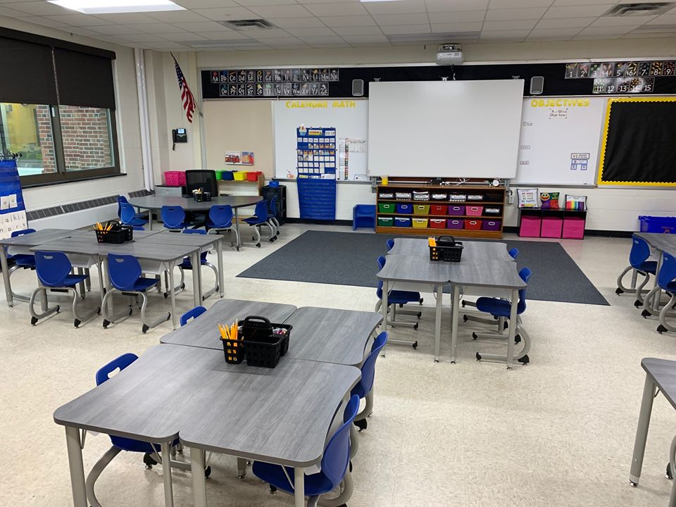 Classroom with group-work tables and chairs